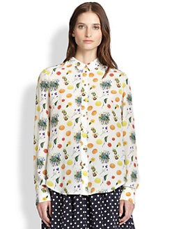 Suno - Silk Fruit-Print Shirt