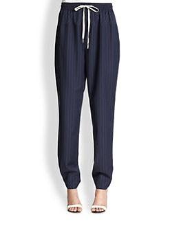 Alexander Wang - Pinstriped Wool Track Pants