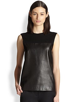 Alexander Wang - Draped-Back Leather & Crepe-Jersey Top