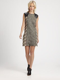 10 Crosby Derek Lam - Leather-Trim Sheath Dress