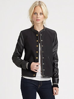 10 Crosby Derek Lam - Leather-Sleeve Varsity Jacket