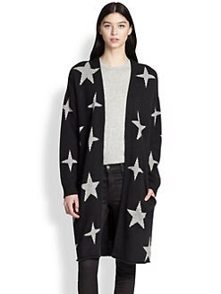 360 Sweater - Chrysalis Wool & Cashmere Star-Patterned Cardigan