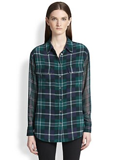 Equipment - Signature Silk Sheer-Sleeved Plaid Shirt