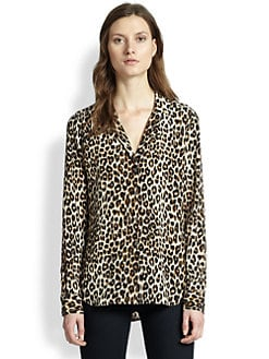 Equipment - Adalyn Leopard-Print Silk Shirt