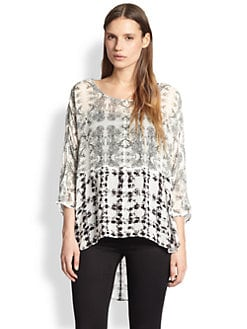 ADDISON - Mixed-Print Chiffon Hi-Lo Top