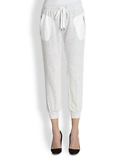 David Lerner - Perforated Faux Suede-Paneled French Terry Trackpants