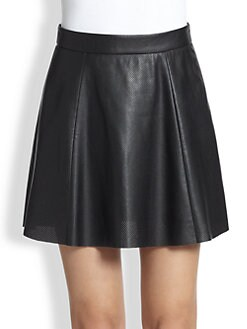 David Lerner - Perforated Faux Leather Skirt