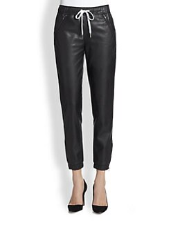 David Lerner - Cropped Faux Leather Trackpants