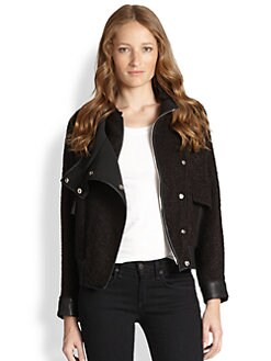 Townsen - Bliss Nubby-Tweed & Leather Motorcycle Jacket