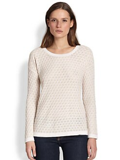 Design History - Sheer-Yoke Textured Knit Sweater