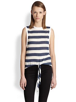 Twenty Tees - Tied-Waist Striped Jersey Tank