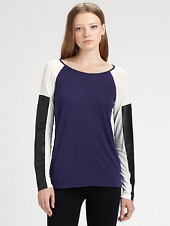 AIKO - Leather-Stripe Raglan Tee