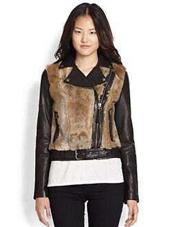Mackage - Rabbit Fur-Paneled Leather Motorcycle Jacket