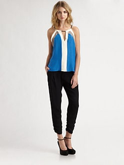 Parker - Chain-Trim Silk Top