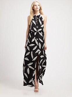 Parker - Feather-Print Silk Maxi Dress