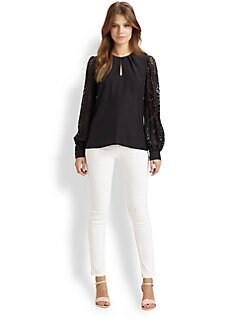 Parker - Laser-Cut Silk Top