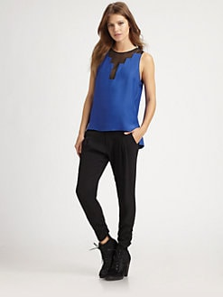 Parker - Chiffon-Trim Silk Top