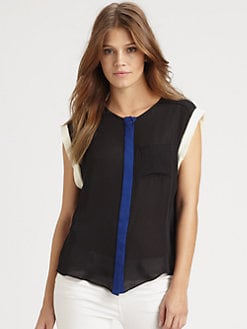 Parker - Colorblock Silk Top