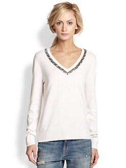 Equipment - Cecile Rhinestone-Trimmed Wool/Cashmere Sweater