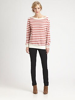 Red Haute - Striped Boatneck Sweatshirt