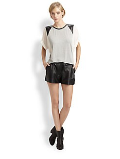 Boundary & Co. - Riley Leather-Trim Top