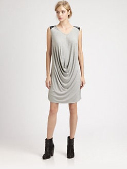 Boundary & Co. - Leather-Trim Jersey Dress