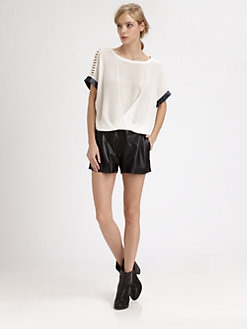Boundary & Co. - Marika Leather-Trim Silk Top
