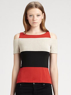 Bailey 44 - Striped Cold-Shoulder Top