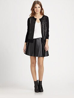 Boundary & Co. - Pleated Faux Leather Skirt