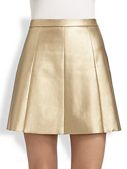 Boundary & Co. - Pleated Metallic Faux Leather Skirt