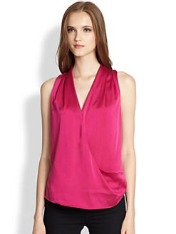 Ramy Brook - Meredith Satin Draped Crossover-Front Top