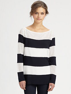 Bailey 44 - Badminton Striped Mesh Top