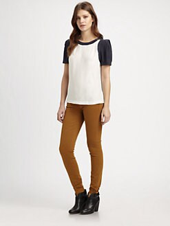 ADDISON - Essex Silk Colorblock Top