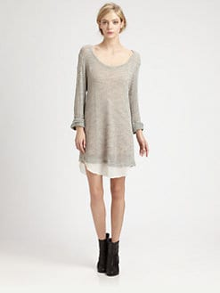 LNA - Seraphine Chiffon-Trim Sweaterdress