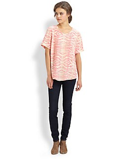 Equipment - Riley Zebra-Print Silk Tee