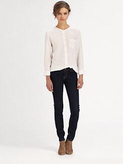 Equipment - Julian Collarless Silk Shirt