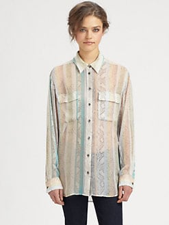Equipment - Python-Print Silk Shirt