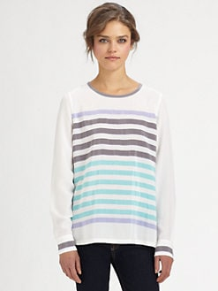Equipment - Liam Striped Silk Shirt