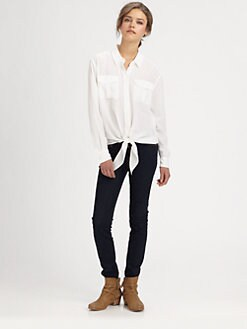 Equipment - Dylan Tie-Front Silk Shirt