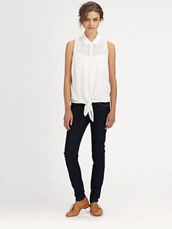 Equipment - Eyelet Mina Tie-Front Silk Shirt