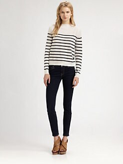 Clu - Striped Silk-Trim Sweater