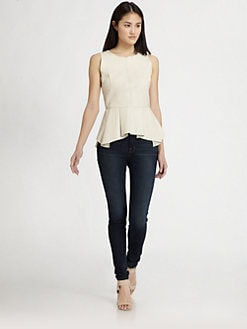 PJK Patterson J. Kincaid - Erin Leather Peplum Top