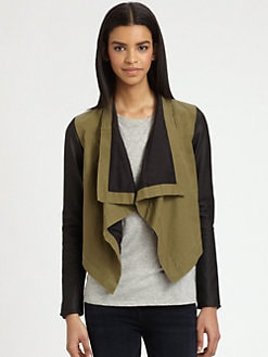 PJK Patterson J. Kincaid - Marco Draped Leather-Trim Jacket