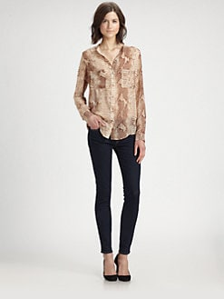 PJK Patterson J. Kincaid - Viper-Print Cutout Shirt