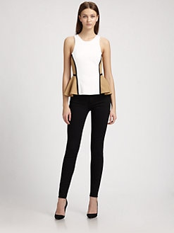Torn - Zina Contrast Peplum Top