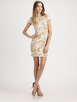 Torn - Ruched Floral Knit Dress