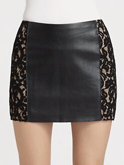 Bailey 44 - Sangria Lace-Trim Leatherette Skirt