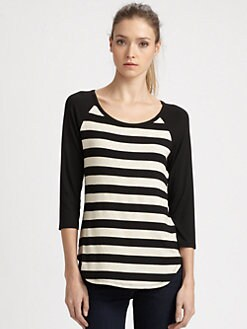 Ella Moss - Sam Striped Baseball T-Shirt