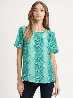 Equipment - Silk Python-Print Top