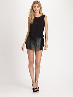 Parker - Grace Silk & Leather Mini Dress